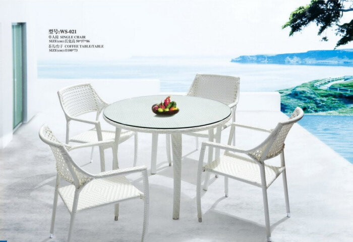 White-Patio-Furniture-Dining-Set-Round-Glass-Table