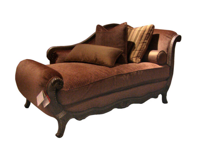 antique_brown_fabric_cushion_indoor_chaise_lounge_chair_solid_wood_for_living_room