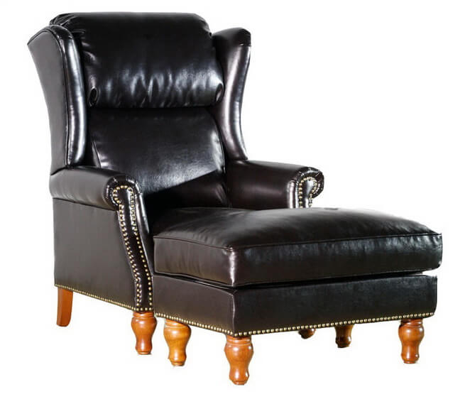 black_leather_lounge_chair_with_ottoman_wood_metal_frame_wingback_1
