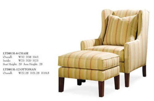 french_countryside_strip_linen_fabric_leisure_chair_ottoman_wood_leg_upholstered_cushion_2