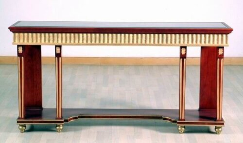 pedestal_style_wood_console_table_with_distressed_finish_gold_leaf_glass_table_2