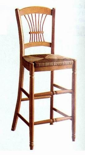 antique_oak_wood_square_cushion_hotel_bar_stools_with_round_back_3
