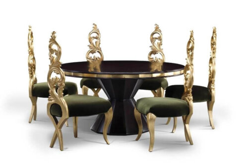 gilding_wooden_black_walnut_hotel_dining_table_sets_european_style